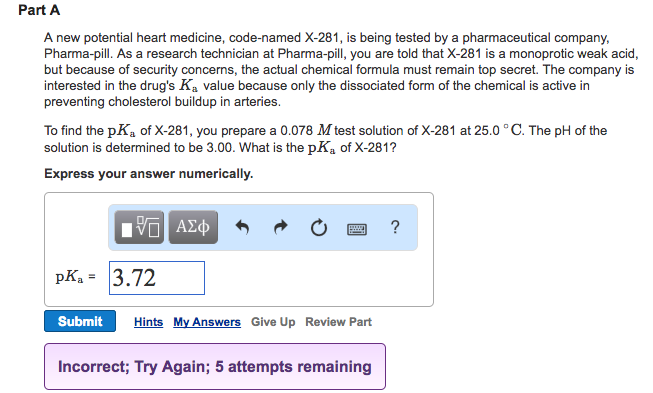 Chemistry archive march 08 2017 chegg part a a new potential heart medicine code named x 281 is being fandeluxe Images