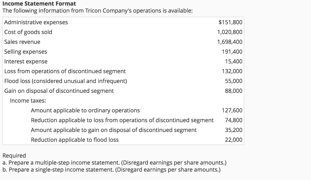 income statement format the following information
