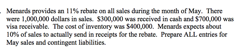Solved: Menards Provides An 11% Rebate On All Sales During
