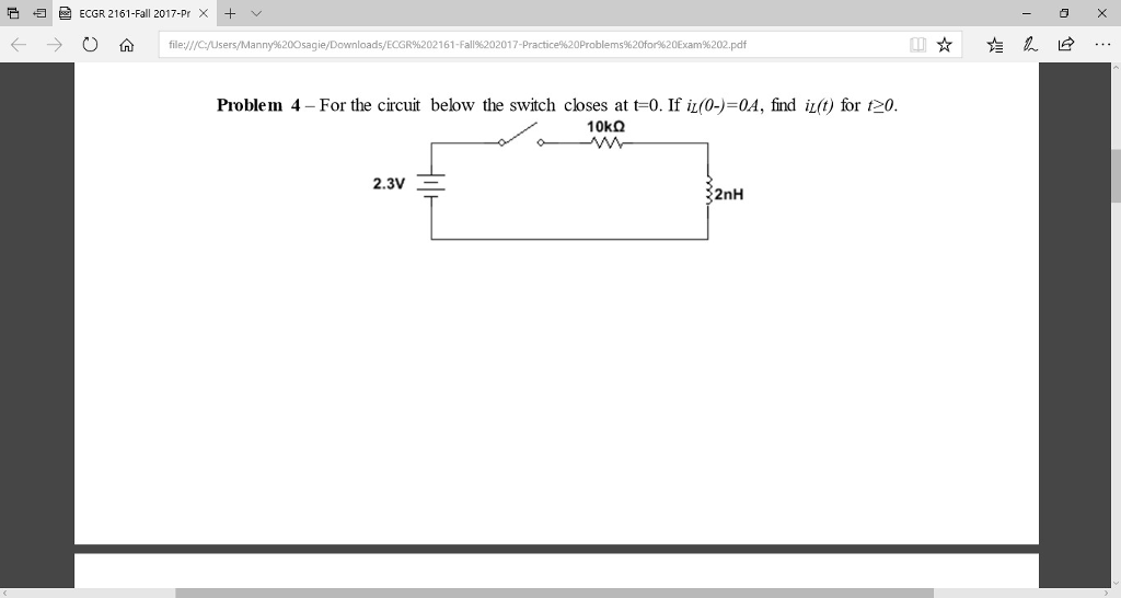 solved problem 4 for the circuit below the switch close rh chegg com