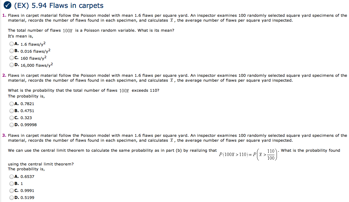 Flaws in carpet material follow the Poisson model
