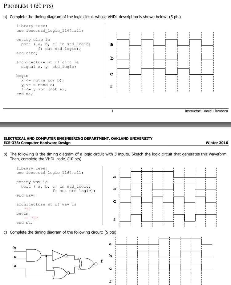 Solved: Complete The Timing Diagram Of The Logic Circuit W ...
