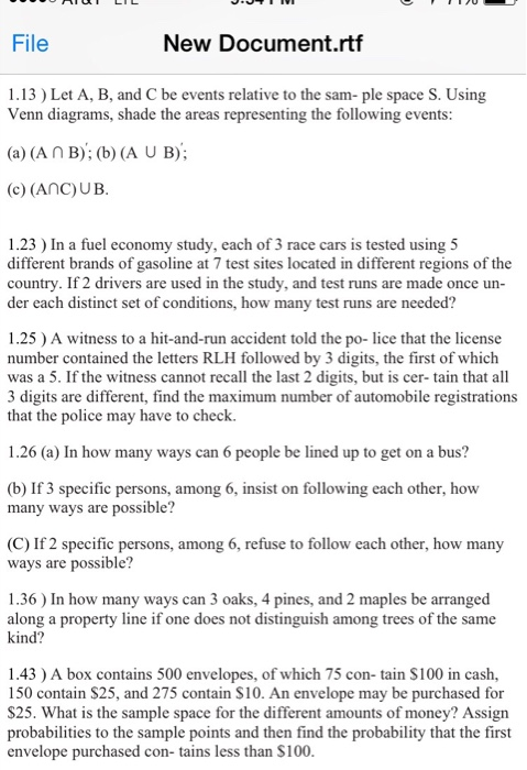 Solved Let A B And C Be Events Relative To The Sample S