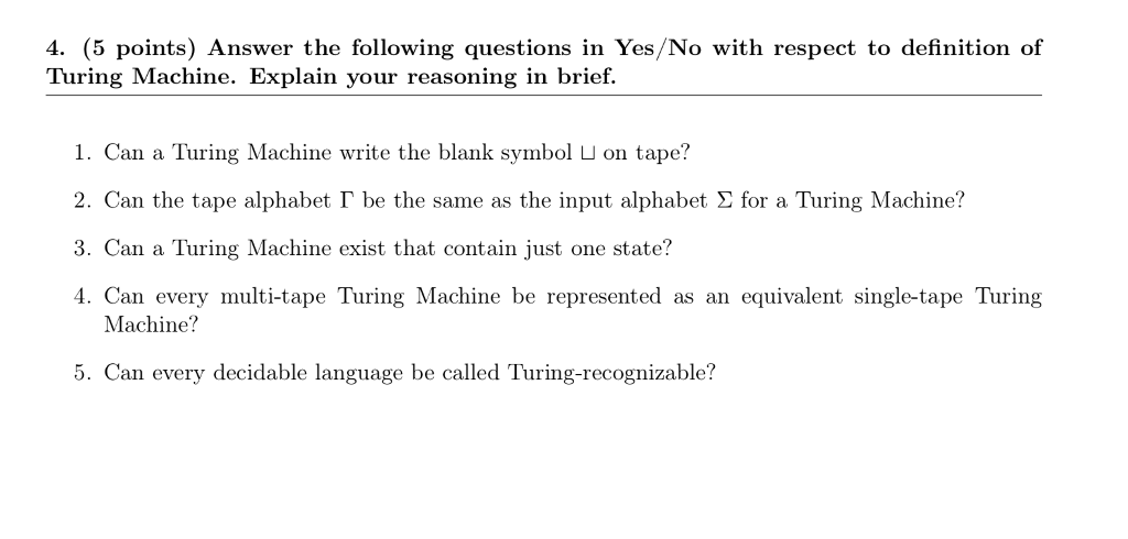 Solved 4 5 Points Answer The Following Questions In Ye