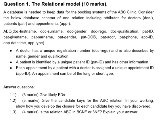 Solved: Question 1  The Relational Model (10 Marks)  A Dat