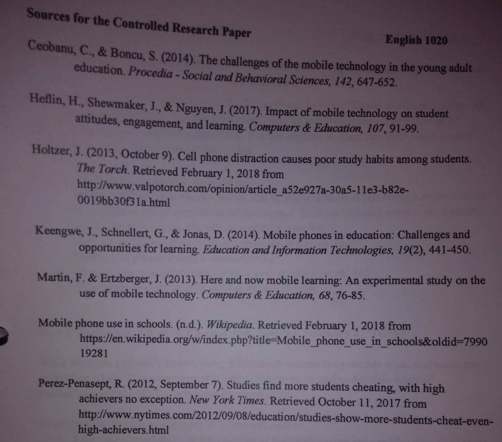 Solved: Assignment 3: Controlled Research Paper Engl  1020