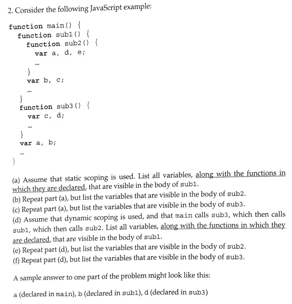 Solved 2 Consider The Following Javascript Example Func