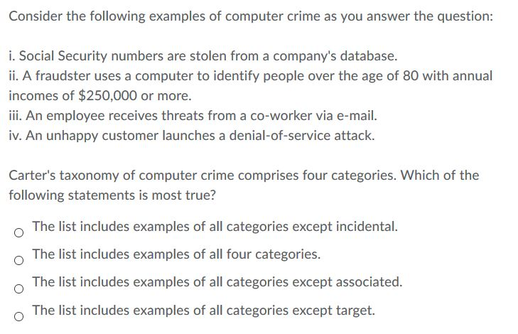 Solved: Consider The Following Examples Of Computer Crime ...   Chegg.com