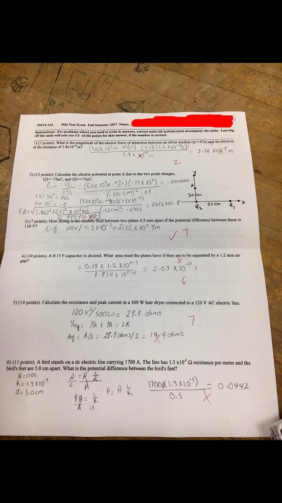 PHYS 142 Mid Tem Exam Fall Semester