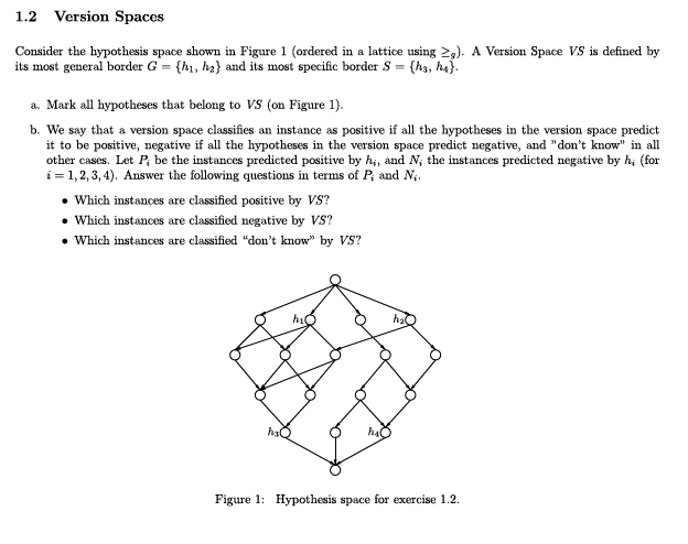 1.2 Version Spaces Consider the hypothesis space shown in Figure 1 (ordered in a lattice using ). A Version Space VS is defined by its most general border G-h,) and its most specific border S-hs, ha) a. Mark all hypotheses that belong to VS (on Figure 1). b. We say that a version space classifies an instance as positive if all the hypotheses in the version space predict it to be positive, negative if all the hypotheses in the version space predict negative, and dont know in all other cases. Let P be the instances predicted positive by hi, and N the instances predicted negative by hi (for i = 1,2,3,4). Answer the following questions in terms of P and N. Which instances are classified positive by VS Which instances are classified negative by VS? Which instances are classified don ow by VS? hi h2 Figure 1: Hypothesis space for exercise 1.2.