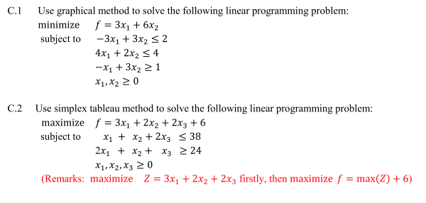 solve the linear programming problem