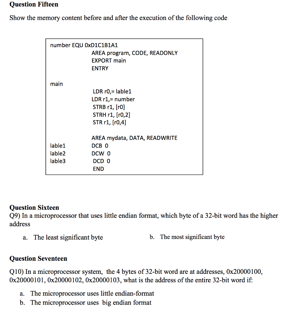 Solved: Question Fifteen Show The Memory Content Before An ...