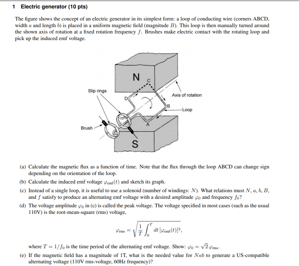 Physics archive march 12 2018 chegg 1 electric generator 10 pts the figure shows the concept of an electric generator ccuart Image collections