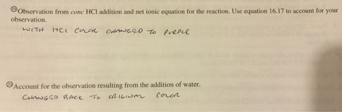 Solved: ⑩Observation From Conc HCl Addition And Net Ionic