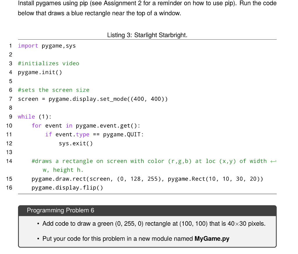 Solved: Install Pygmies Using Pip (see Assignment 2 For A