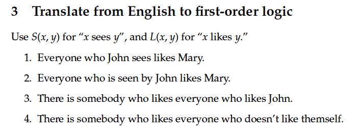 First order logic.