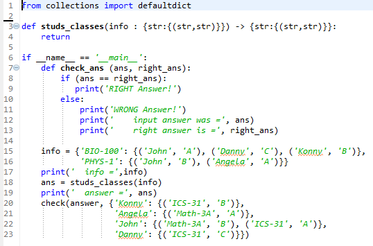Solved: PYTHON # Complete Studs_classes Function # Takes I