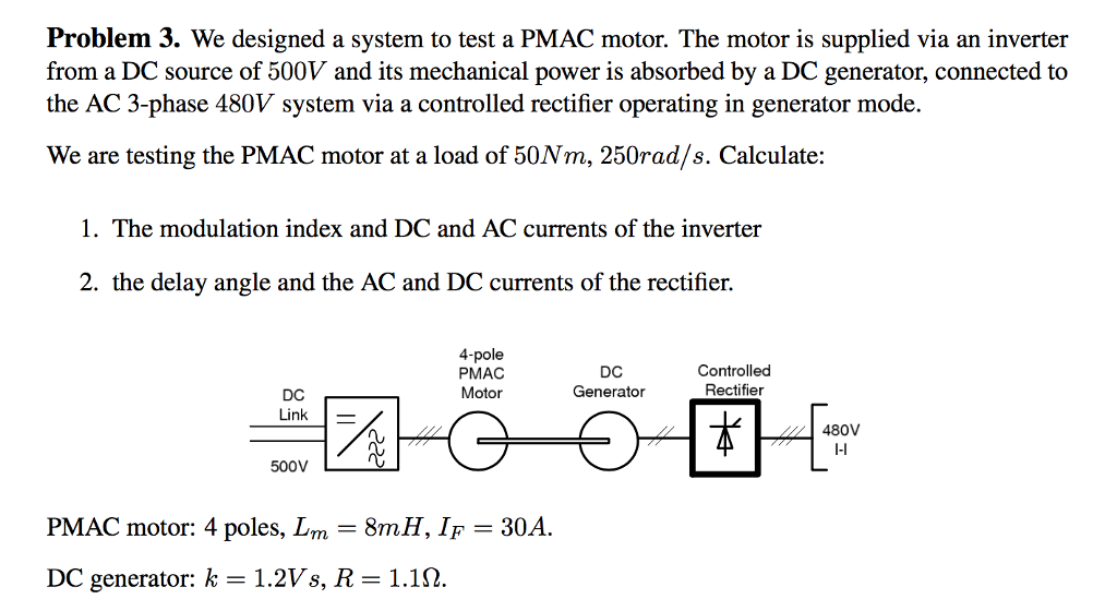 We Designed A System To Test PMAC Motor The Is