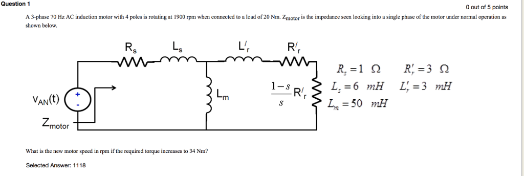 Hz To Rpm >> Solved A 3 Phase 70 Hz Ac Induction Motor With 4 Poles Is