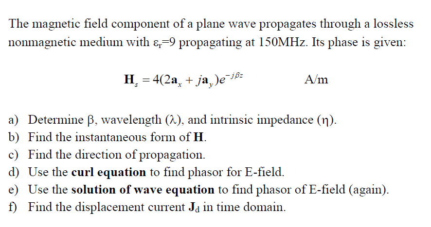 Solved The Magnetic Field Component Of A Plane Wave Propa