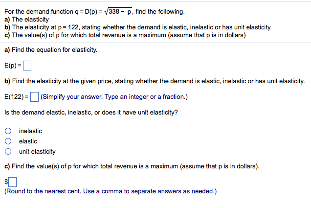 Solved For The Demand Function Q D P Squareroot 338