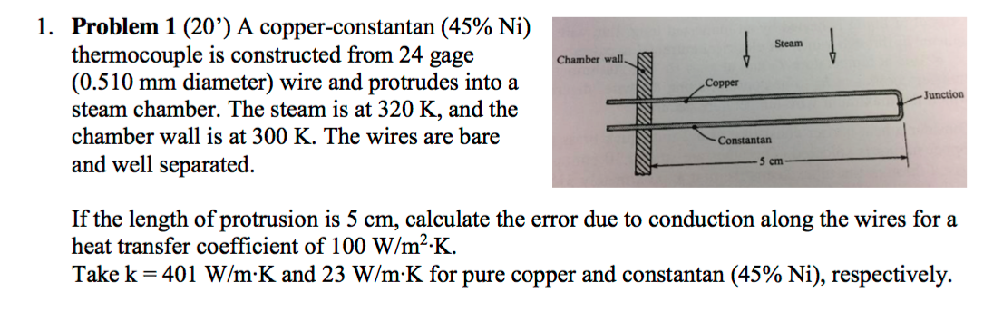Solved a copper constantan 45 ni thermocouple is const question a copper constantan 45 ni thermocouple is constructed from 24 gage 0510 mm diameter wire an greentooth Choice Image