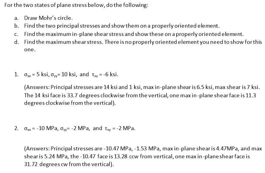 Solved: For The Two States Of Plane Stress Below, Do The F
