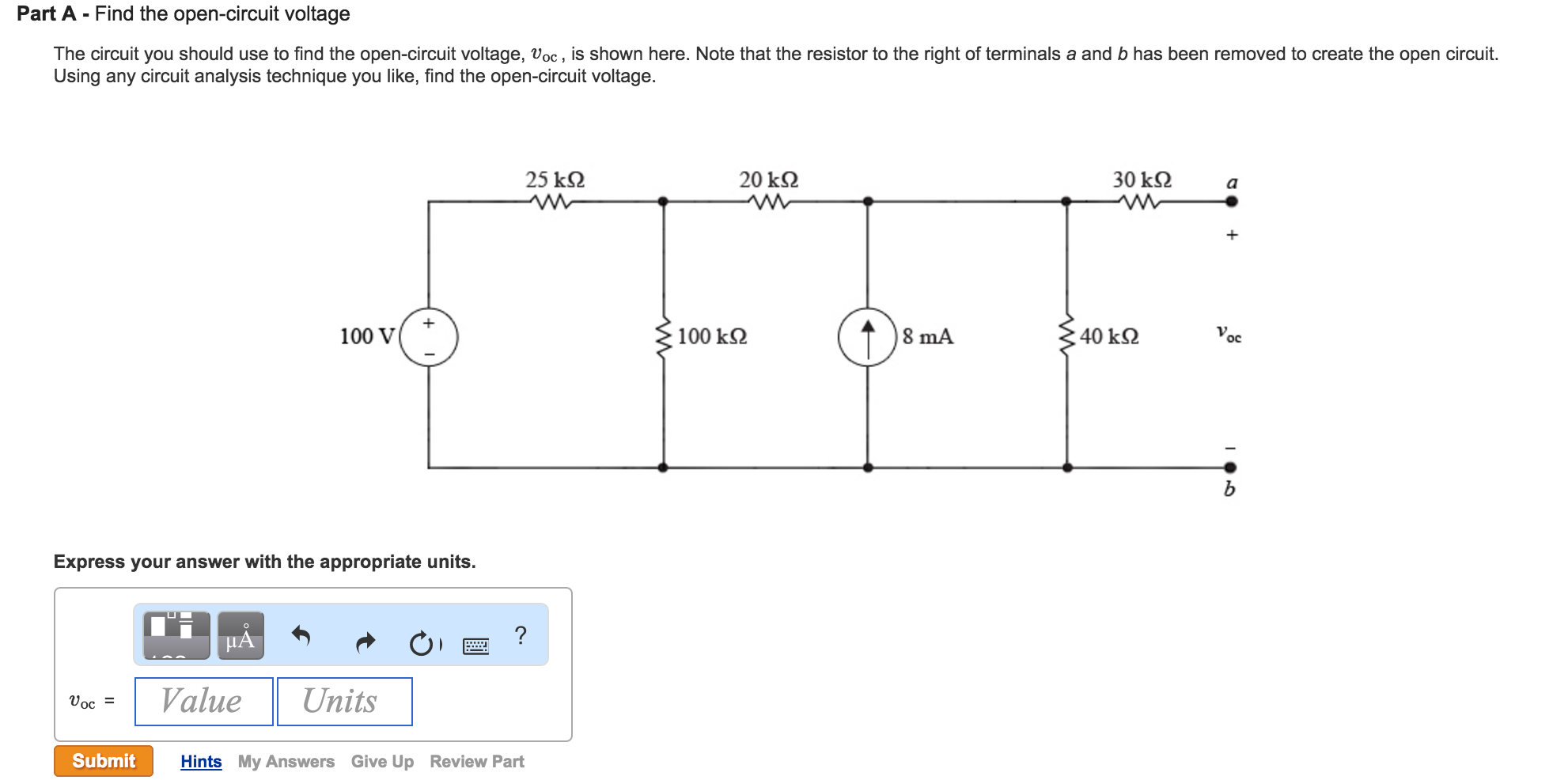 Solved Find The Open Circuit Voltage You Shou Diagram