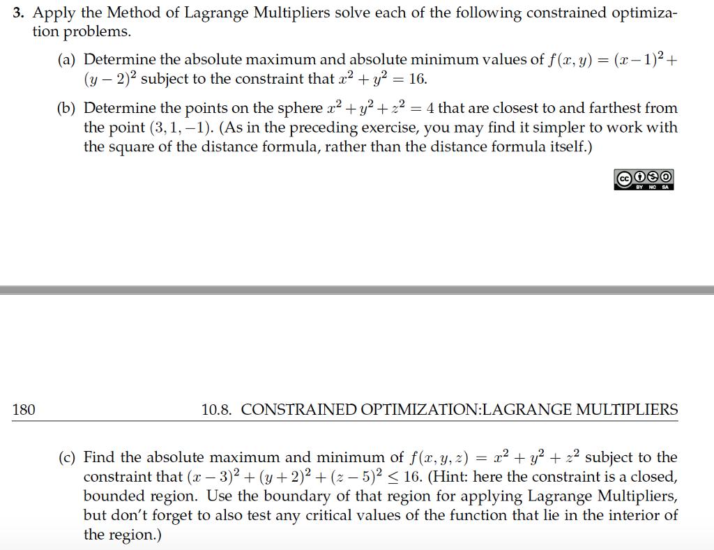 Solved 3 Apply The Method Of Lagrange Multipliers Solve