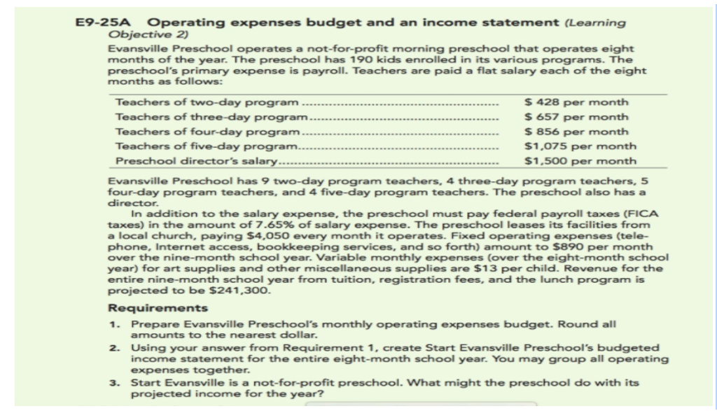 e9 25a operating expenses budget and an income statement learning objective 2 evansville