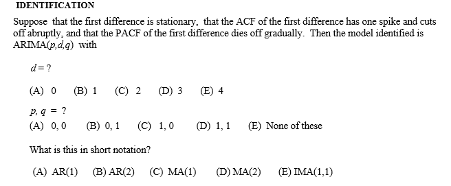 Solved: IDENTIFICATION Suppose That The First Difference I