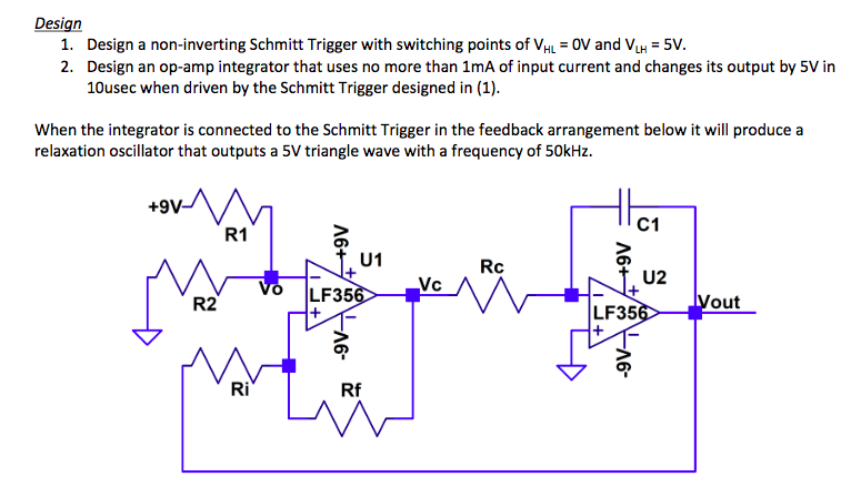 Solved: Design 1  Design A Non-inverting Schmitt Trigger W