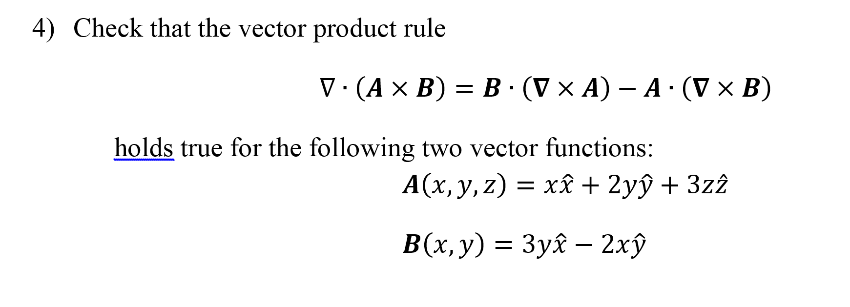 Check that the vector product rule delta middot
