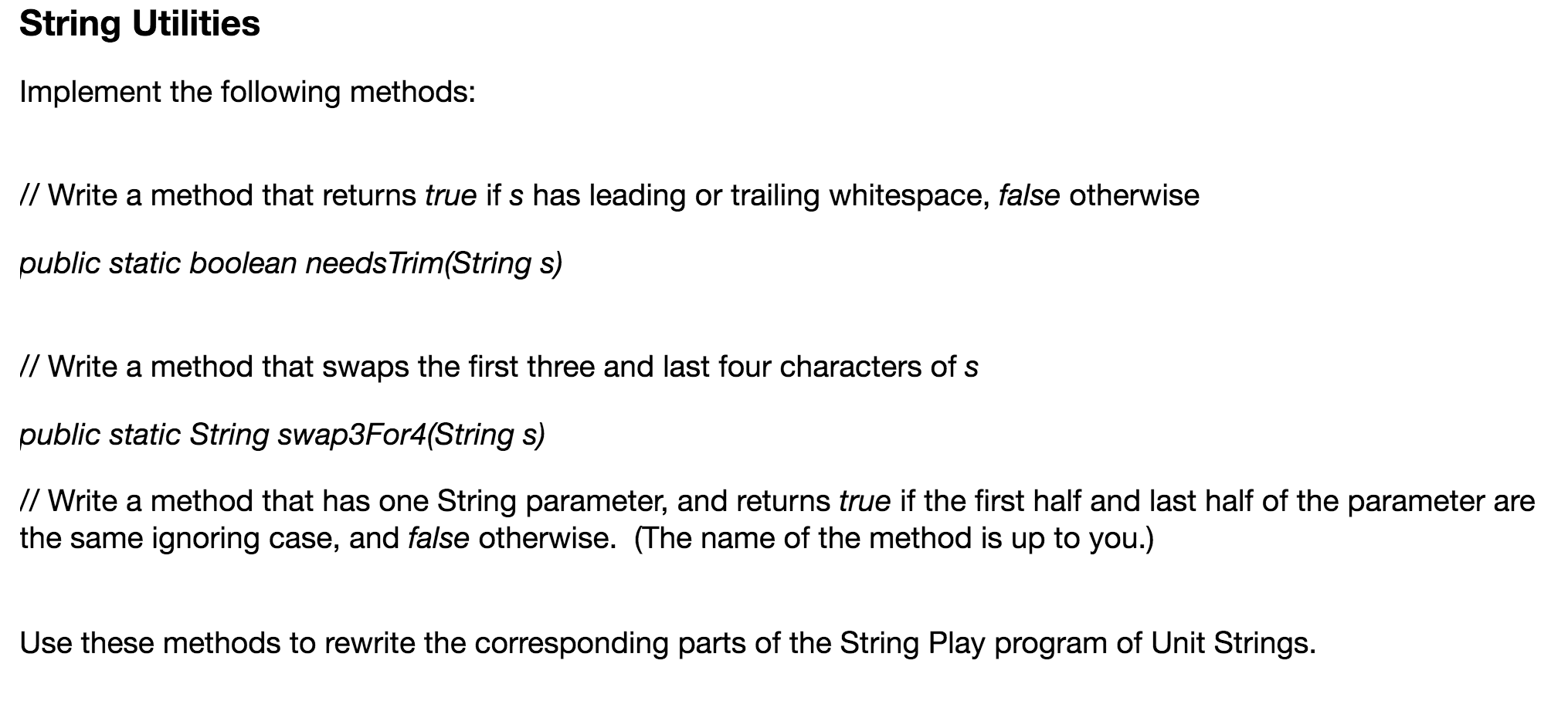 Solved: StringPlay java Program Here Is My Code, But It's