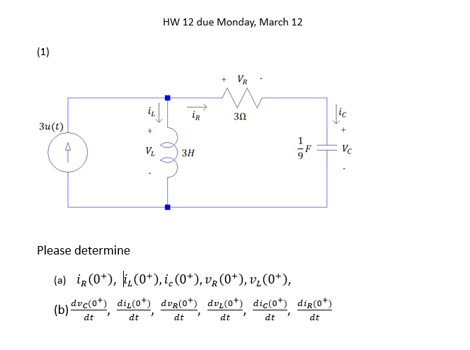 HW 12 due Monday, March 12 2 3Ω 3u (t) 3H Please determine dtdtdt dt dt dt