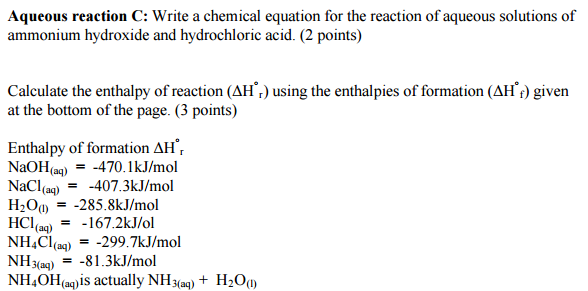Solved Aqueous Reaction C Write A Chemical Equation For