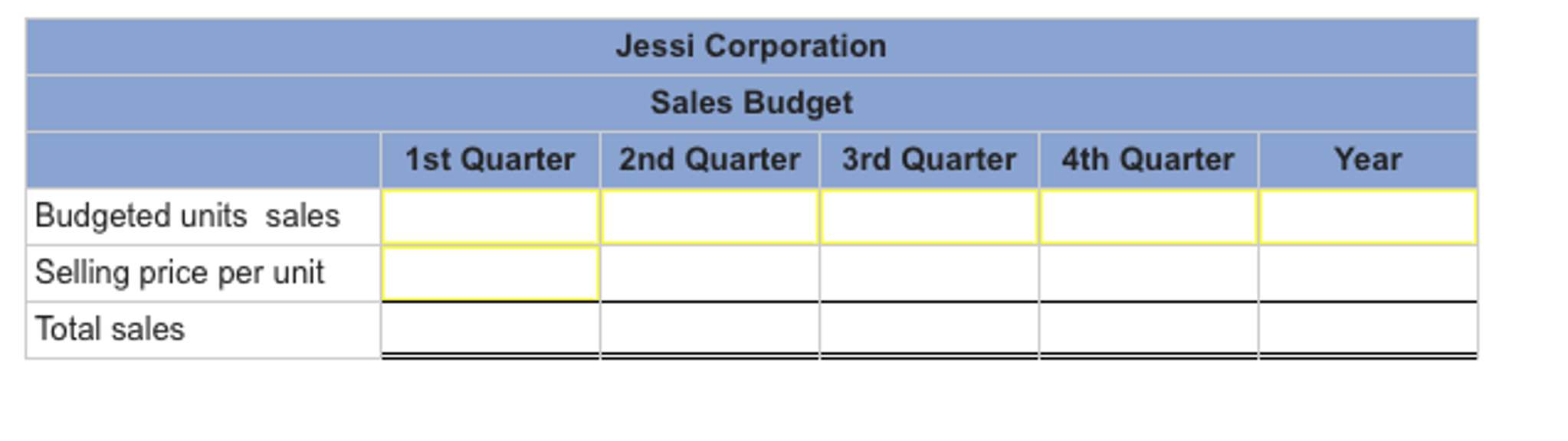 the marketing department of jessi corporation has submitted the following sales forecast for the upc Master budget exercises timothy vallin bus 630 managerial accounting instructor: mark taylor june 17, 2012 sales and production budgets (8-12): the marketing department of jessi corporation has submitted the following sales forecast for the upcoming fiscal year (all sales are on account).