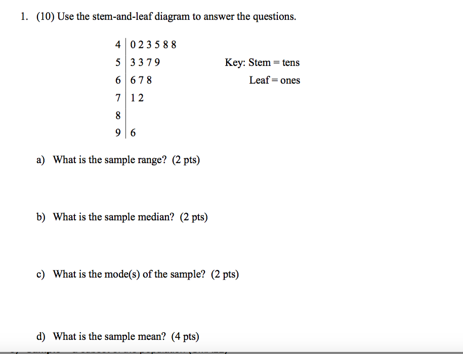 Stem And Leaf Diagram Questions.Solved 1 Lo Use The Stem And Leaf Diagram To Answer Th