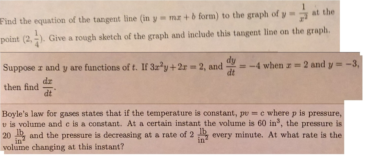 Find The Equation Of The Tangent Line (in Y = Mx +
