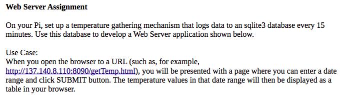 Web Server Assignment On Your Pi, Set Up A Tempera    | Chegg com