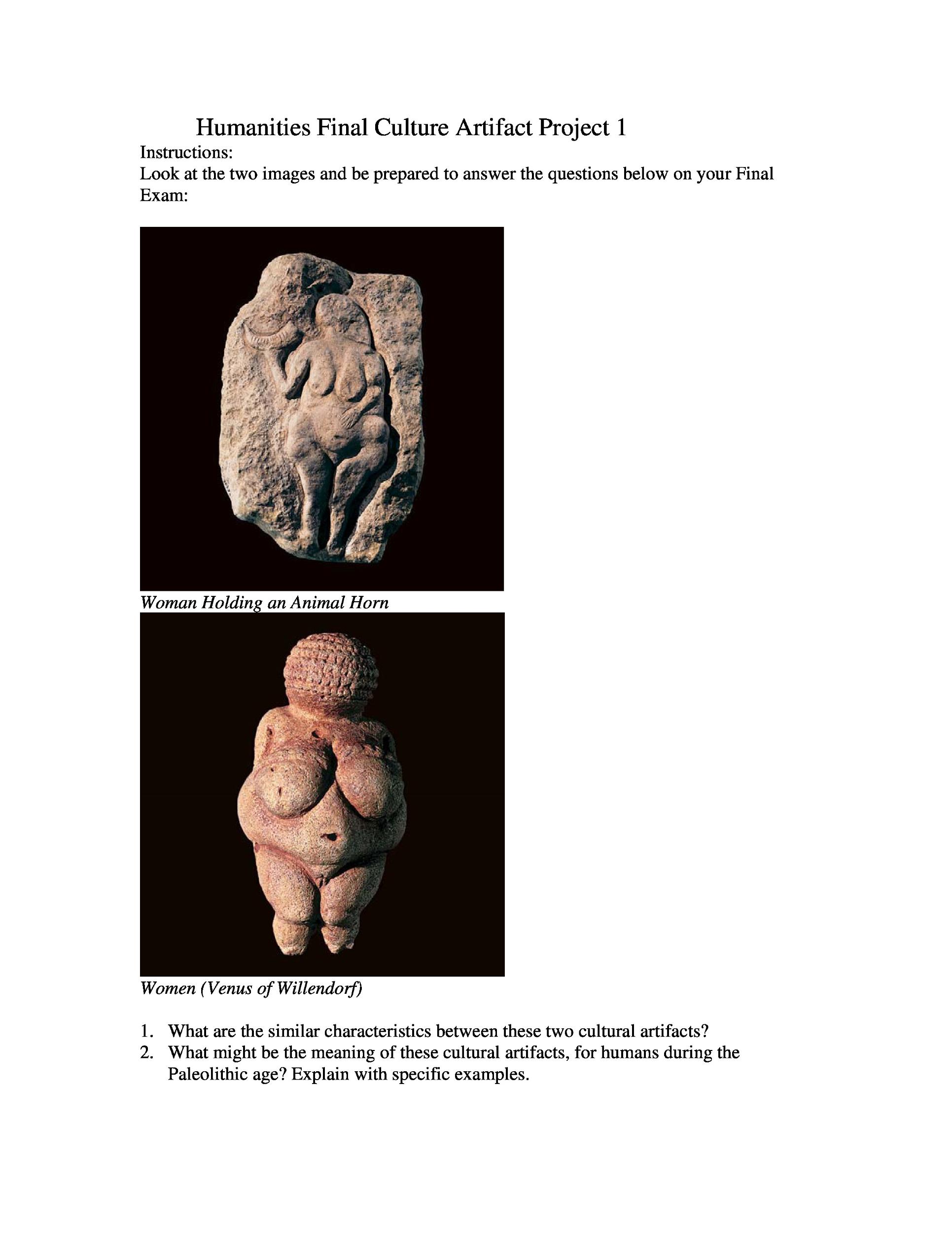 Humanities Final Culture Artifact Project 1 Instru Chegg