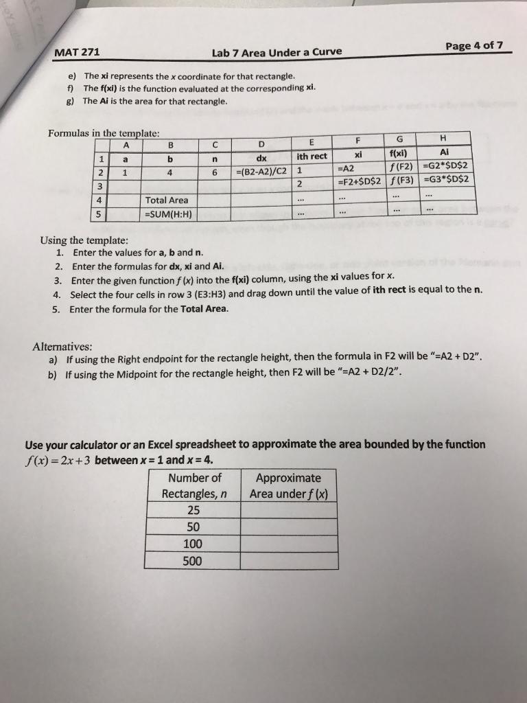 Page 4 Of 7 MAT 271 Lab 7 Area Under A Curve E) Th... | Chegg.com