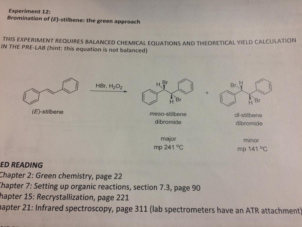 a greener bromination of stilbene
