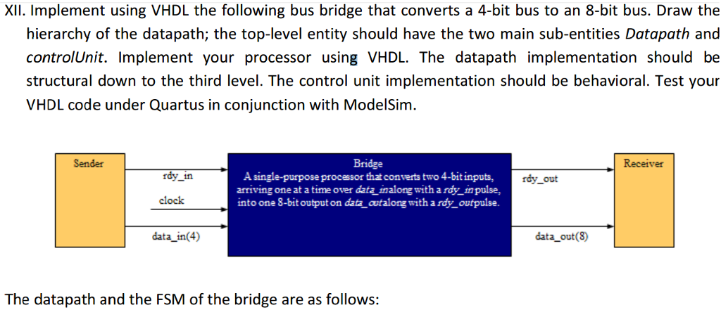 Implement Using VHDL The Following Bus Bridge That