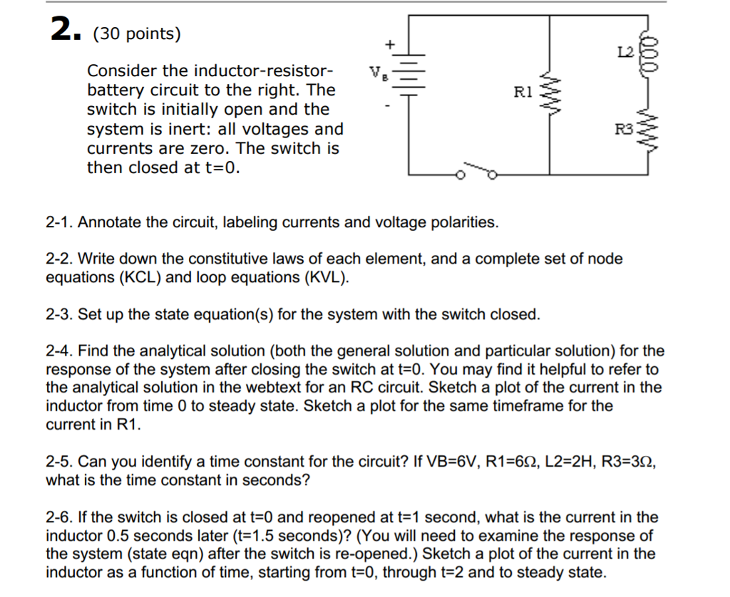 Solved Consider The Inductor Resistor Battery Circuit To Voltage In Each Remains Same Across 30 Points V Right