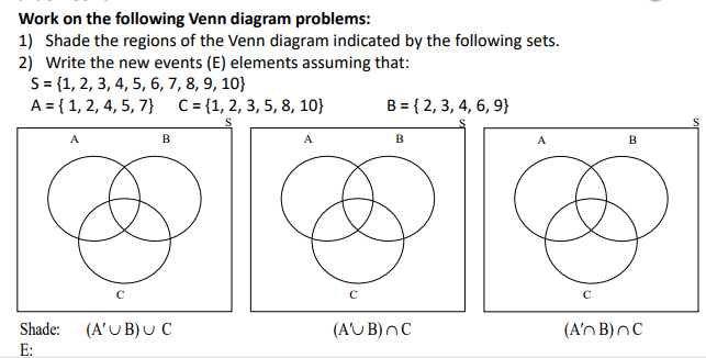 Solved Work On The Following Venn Diagram Problems 1 Sh