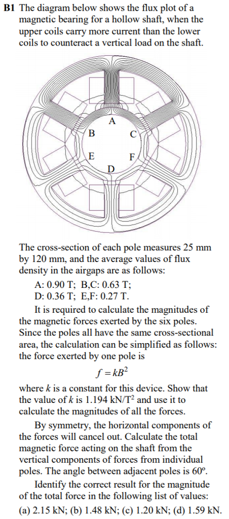B1 The diagram below shows the flux plot of a magnetic bearing for a hollow shaft, when the upper coils carry more current than the lower coils to counteract a vertical load on the shaft. The cross-section of each pole measures 25 mm by 120 mm, and the average values of flux density in the airgaps are as follows A: 0.90 T; B,C: 0.63 T; D: 0.36 T; E,F: 0.27 T. It is required to calculate the magnitudes of the magnetic forces exerted by the six poles Since the poles all have the same cross-sectional area, the calculation can be simplified as follows the force exerted by one pole is where k is a constant for this device. Show that the value of k is 1.194 kN/T2 and use it to calculate the magnitudes of all the forces By symmetry, the horizontal components of the forces will cancel out. Calculate the total magnetic force acting on the shaft from the vertical components of forces from individual poles. The angle between adjacent poles is 60. Identify the correct result for the magnitude of the total force in the following list of values: (a) 2.15 kN; (b) 1.48 kN; (c) 1.20 kN; (d) 1.59 kN