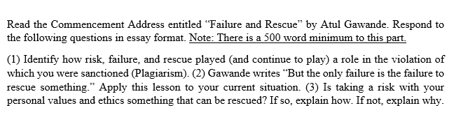Thesis For Compare And Contrast Essay Read The Commencement Address Entitled Failure And Rescue By Atul Gawande  Respond To The Following Essay Mahatma Gandhi English also Example Of Essay Proposal Solved Someone Help Me Complete This Essay I Am Unable T  Essay On Newspaper In Hindi