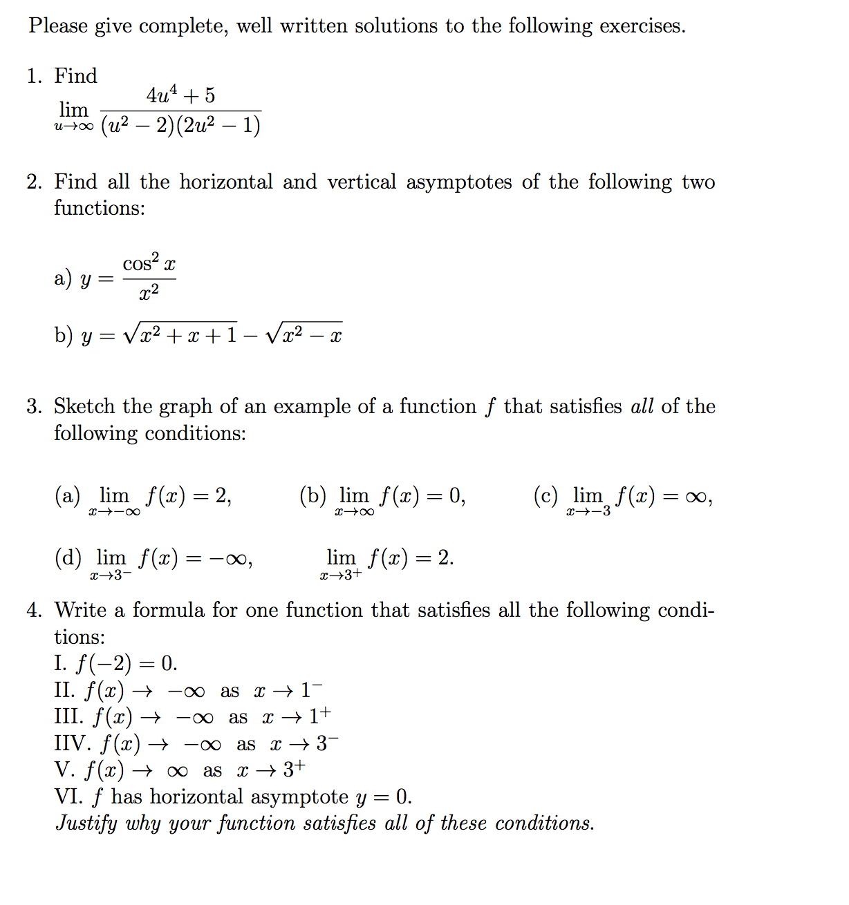(u2  2)(2u2  1) Find All The Horizontal And  Vertical Asymptotes Of The Following Two Functions: Y =