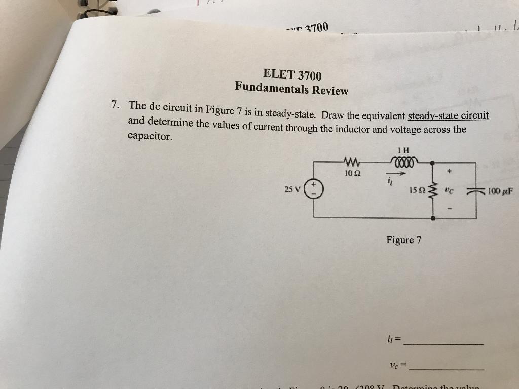 3700 ELET 3700 Fundamentals Review 7 The